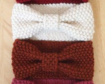 Knit Bow Headwrap Thick Headband Ear Warmer Reversible | Wool Blend | Fall Winter