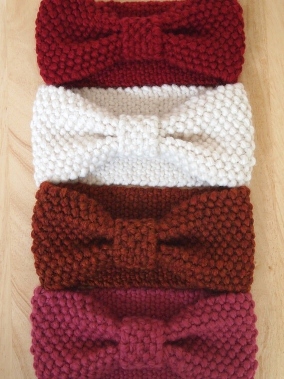 Knit Bow Headwrap Thick Headband Ear Warmer Reversible Wool
