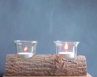 Rustic Log Candle Holder - Wood Candle Holder, Log Tealight, Wood Candle Holder, Recycled, Reclaimed, Tealight Holder, Rustic Home Decor