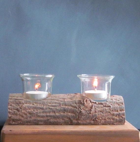 Rustic log candle holder wood candle holder log tealight for Log candle holder how to make