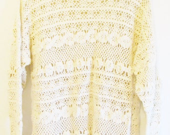 Vintage 1990's Crocheted Eyelet Ivory Floral Knit Sweater
