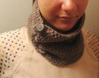 Knitted cowl, knitted alpaca wool cowl with buttons, knitted snood in dark brown colour, woman winter accessory with cable