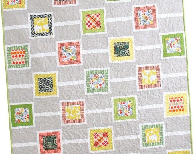 """Chain Reaction Quilt Pattern #113 by Cluck Cluck Sew - Toddler Size 49"""" x 57"""" - Great Beginner Quilt (W739)"""
