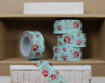 Washi Tape - mint green floral, rose (6003)