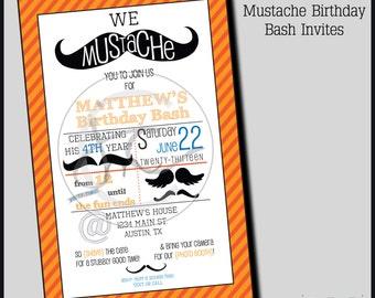 Printable Customizable Mustache Themed Birthday Party Invitation; Printable Mustache Bash Invite