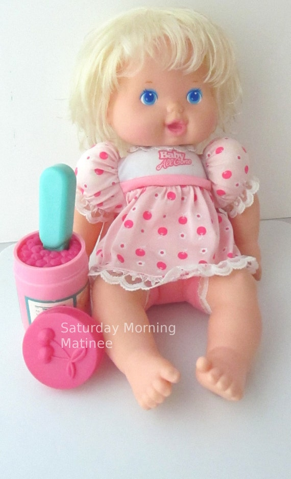 Baby All Gone Kenner Baby Doll Toy With Cherries Spoon 1990s