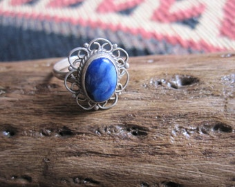 Lapis and Sterling Ring Size 5