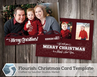 Christmas Card Template: Flourish - 5x7 Photoshop Holiday Template for Photographers and Designers