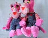 1980's Pink Panther Plush Toy, Vintage Toy Pink Panther Toys, Stuffed Animal, Matching Denim Outfits, Hot Pink Fur, Yellow Eyes, Mighty Star