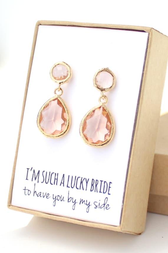 peach champagne gold 2-piece teardrop post earrings