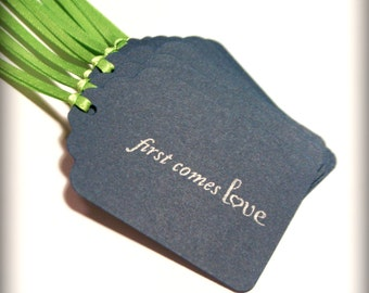 First comes Love Wedding Tag Set 10 Blank bridal shower wish tree navy blue lime green gift favor