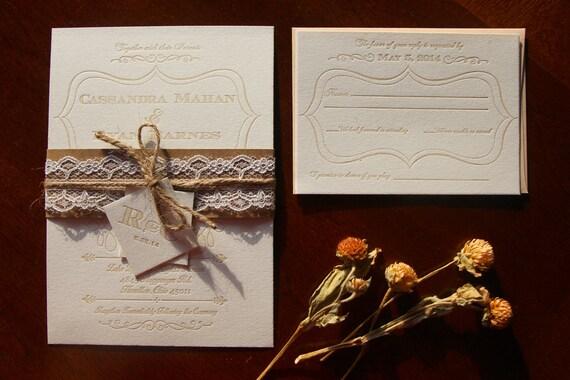 Custom Letterpress Wedding Invitation Suite- 100 Sets