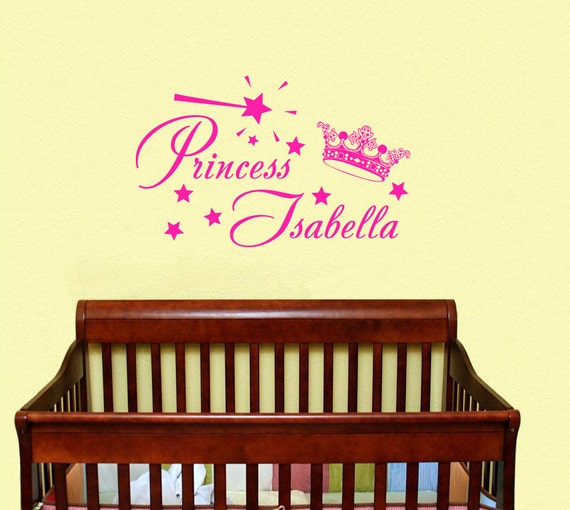 Baby Crown Wall Decor : Items similar to wall decals girls personalized name