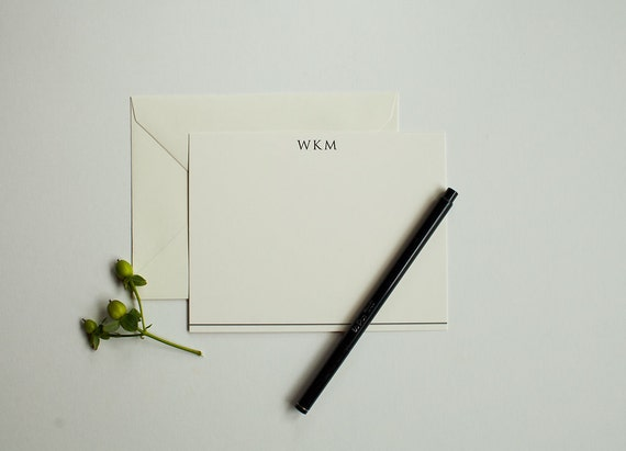Men's Monogrammed Personalized Stationery (set of 25 or 50) Includes envelopes.