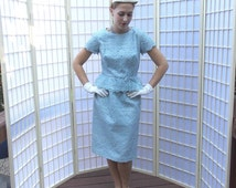 Vintage 50's Sky Blue Peplum Sheath . Eyelet Embroidered Floral Lace Dress . Short Cap Sleeves . Jackie O Svelte Style . 50's early 60's