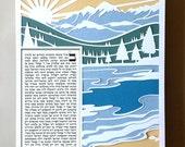 Papercut Ketubah Lake by the Mountains