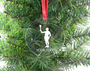 Personalized Custom Olympic Torch Clear Acrylic Christmas Tree Ornament