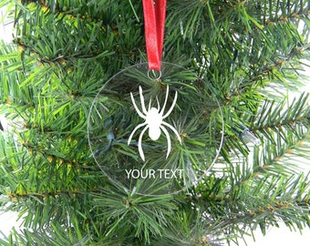 Personalized Custom Spider Clear Acrylic Christmas Tree Ornament with Ribbon