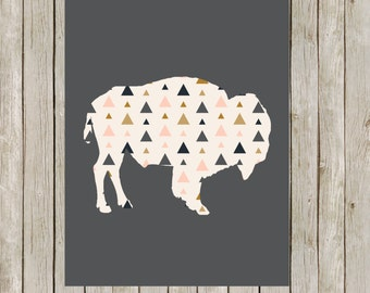 8x10 Buffalo Modern Print, Bison Printable Art, Charcoal Wild Game Print, Geo Poster, Nursery Wall Art, Home Decor, Instant Digital Download