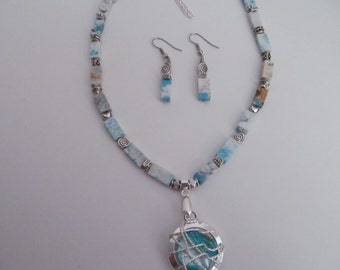 free earrings, Chalk turquoise necklace and earring set, blue shell wire wrapped pendant, handmade,
