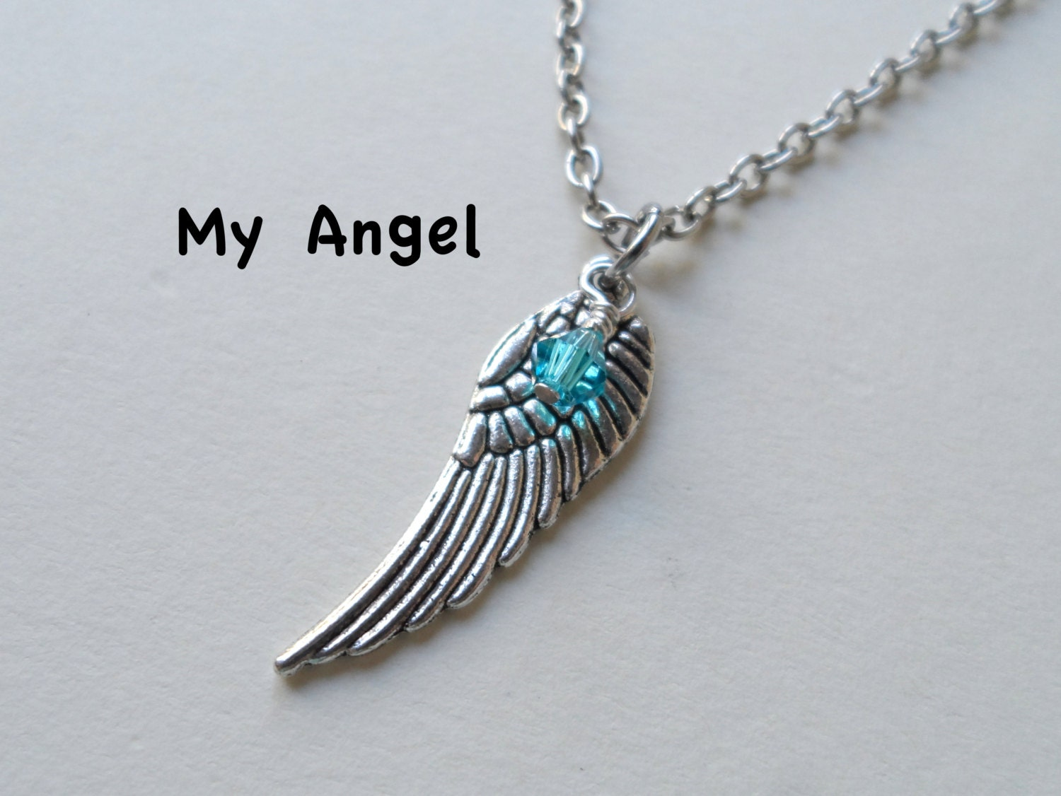 angel wing necklace memorial jewelry guardian angel. Black Bedroom Furniture Sets. Home Design Ideas