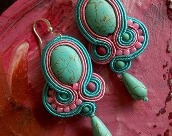 SWEET CANDY Soutache Earrings with Turquoise- Antidotum- Craftwork- Handmade
