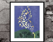 Lantern Painting - Tangled - Disney Pixar Inspired - Movie Poster Art