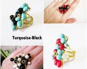 Beaded Stones Wire Wrapped Brass Ring, Adjustable, Jewelry Thailand Handmade. (JR1023)