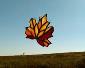 Fall Leaf Autumn Stained Glass Sun Catcher Thanksgiving Glass Ornament Free Shipping, Ready to Ship Gift Idea