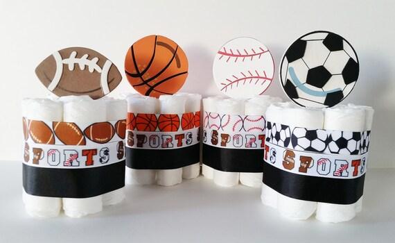 Sports Mini Diaper Cakes Centerpieces Boys Diaper Cakes