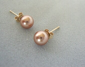 Rose Gold Swarovski Pearl Gold-Filled Earrings - Minimalist Jewelry - Pearl Earrings - Vegan Pearls - Swarovski Pearl Gold-Filled Earrings