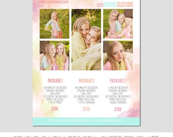INSTANT DOWNLOAD, Sell Sheet, Collections  or Packages Pricing Template, Photography Marketing Template, 8.5 x 11 size, Family, Senior, Baby