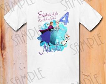 T-shirt Disney FROZEN Iron On Transfer Printable Birthday Girl Elsa Anna Elsa digital download Personalized DIY Frozen Birthday Party shirt