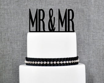 Mr and Mr Same Sex Wedding Cake Topper, Traditional and Elegant Wedding Topper in your Choice of Color, Modern Wedding Cake Topper- (T096)