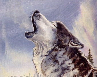 PRINT- WILDLIFE -WOLF; howling, winter, nature, wilderness, wolf, reproduction, art,