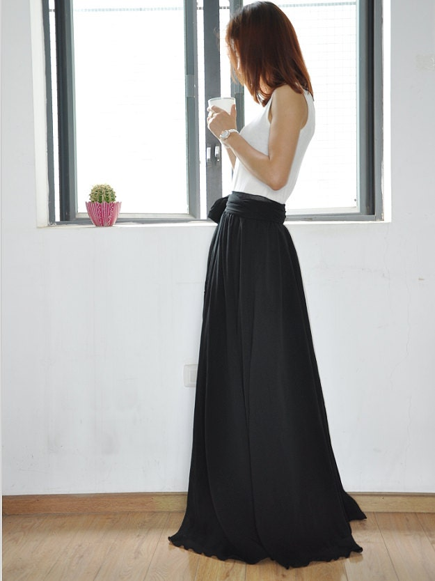 Black Maxi Skirt Chiffon Silk Skirts Beautiful Bow Tie High
