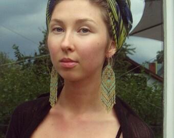 Ocotea...Long Beaded Fringe Earrings Native American Inspired