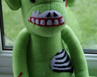 Creepy and cute, zombie monkey plush! CE certified soft toy.