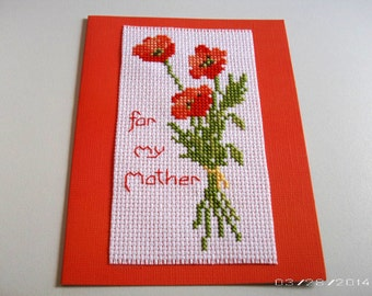 Poppy Flowers Cross-Stitch Greeting Card