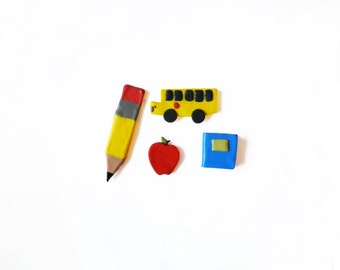 Polymer Clay Magnets - Back to School Magnets - Kitchen Magnets - Kawaii Magnets - Refridgerator Magnets - School Bus - Pencil Magnet Apple