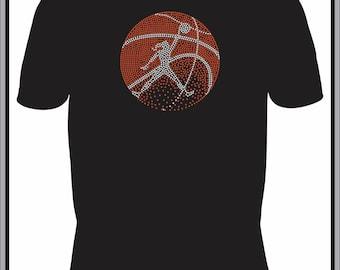 Basketball T Shirt/ Basketball Shirt/ Basketball Clothing/ Basketball Gift/ Basketball/Rhinestone Fading Basketball Design With Girl T-Shirt