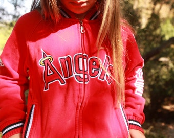 Vintage 80s Anaheim Angels Baseball Warm Up Sweatshirt Jacket S-M