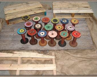 Vintage Large Wooden Textile Spool,chipped paint,colorful paint,seamstress gift,unique home décor,textile mill spool,diy craft supplies
