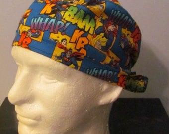 Superman DC Comics Whap! Bam! Super Hero Tie Back Surgical Scrub Hat