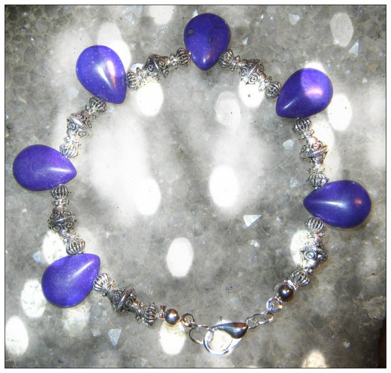 Handmade Silver Bracelet with Purple Howlite Drops & Silver Bali Style by IreneDesign2011