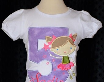Personalized Birthday Fairy Princess Applique Shirt or Onesie Girl or Boy