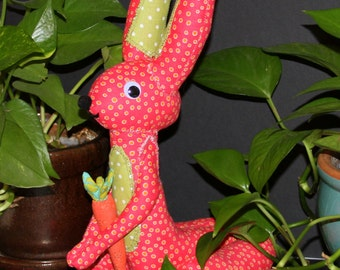 """Fabric soft sculpture Rosie the Rabbit dimensions are 14"""" (tall) x 5.5"""" (widest point) 8.5"""" long(tails to toes)"""