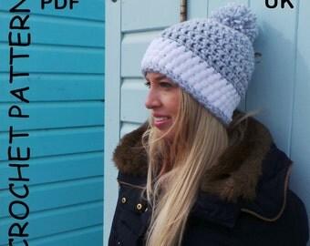 WOMENS CROCHET Hat PATTERN, Ladies hat pattern, Winter hat pattern, bobble hat pattern, chunky hat pattern, pompom hat, Instant download, uk