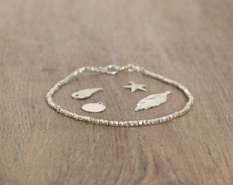 Delicate bracelet pure silver shiny beads women jewelry 99% pure silver