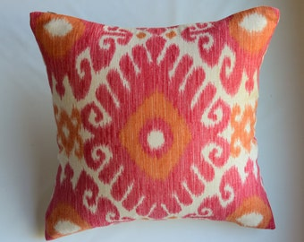 Pink, Orange, White Ikat Decorative Pillow Cover from Jaclyn Smith Home Collection